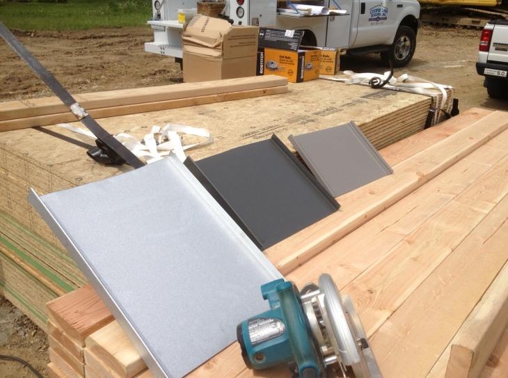 Samples of metal roofing.