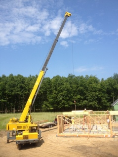 Timberframe for the dining/living area required a crane to install.