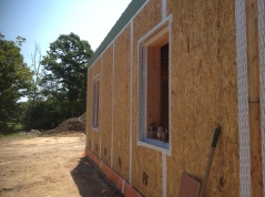 Joints and window openings have been taped