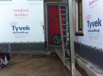 Blower door in the front entry door.