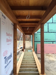 Walkway to the garage, cedar framed