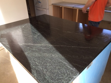 Soapstone countertops installed.