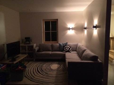 TV room at night.